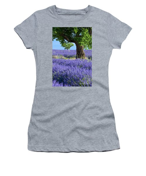 Women's T-Shirt featuring the photograph Lone Tree In Lavender by Brian Jannsen