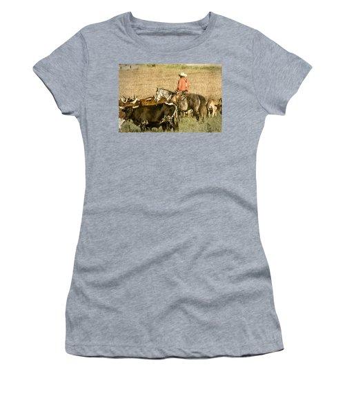 Women's T-Shirt (Junior Cut) featuring the photograph Longhorn Round Up by Steven Bateson