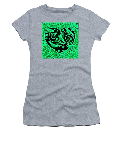 Love Birds, 2012 Woodcut Women's T-Shirt (Athletic Fit)
