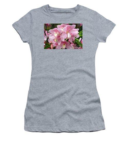 Women's T-Shirt (Junior Cut) featuring the photograph Cymbidium Pink Orchids by Jeannie Rhode