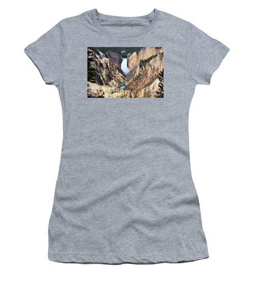 Women's T-Shirt (Junior Cut) featuring the photograph Lower Falls Yellowstone by Teresa Zieba