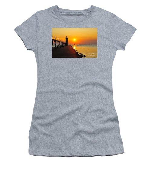 Manistee Lighthouse Sunset Women's T-Shirt