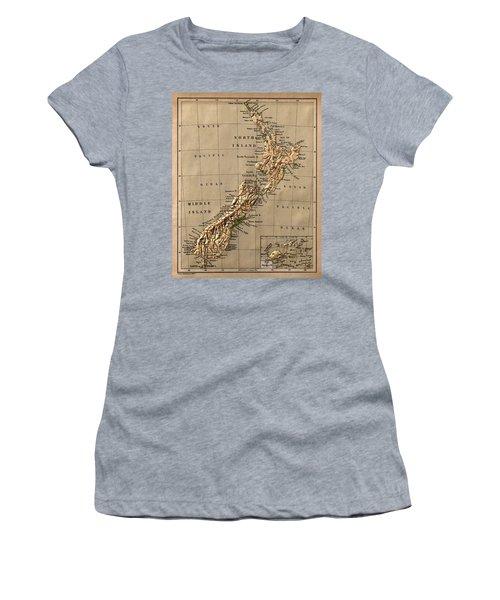 Map Of New Zealand 1880 Women's T-Shirt