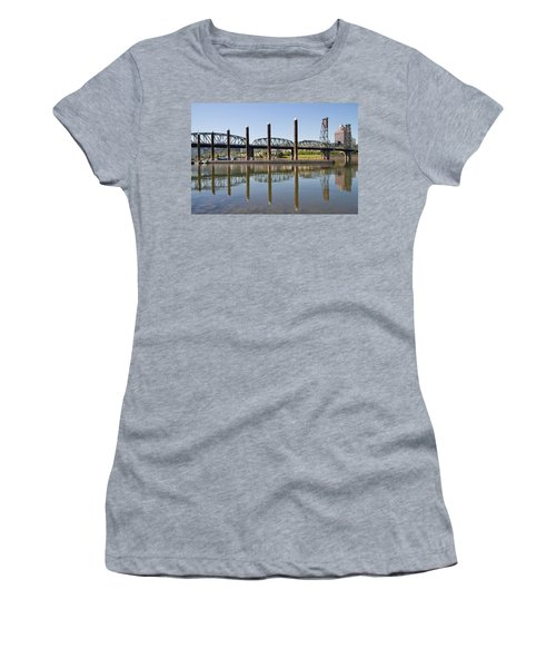 Women's T-Shirt (Junior Cut) featuring the photograph Marina By Willamette River In Portland Oregon by JPLDesigns