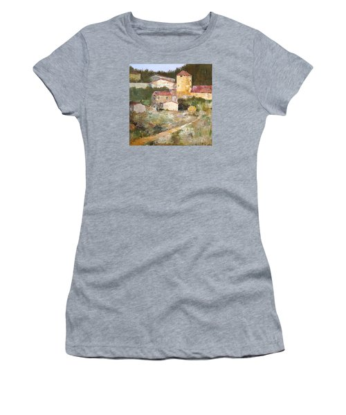 Women's T-Shirt (Junior Cut) featuring the painting Mediterranean Farm by Alan Lakin