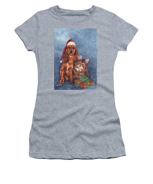 Merry Christmas Women's T-Shirt (Junior Cut) by Carol Wisniewski