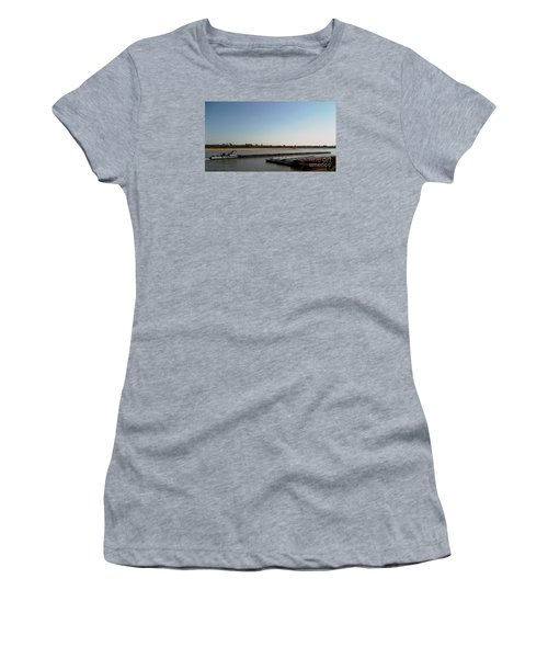 Women's T-Shirt (Junior Cut) featuring the photograph Mississippi River Barge by Kelly Awad