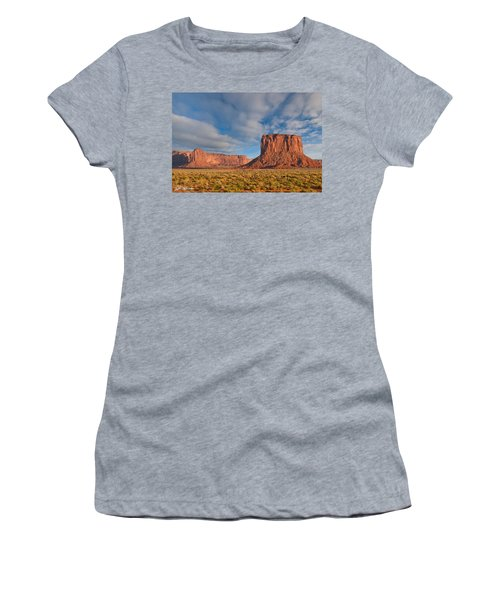 Mitchell Butte And Gray Whiskers In The Evening Light Women's T-Shirt (Junior Cut) by Jeff Goulden