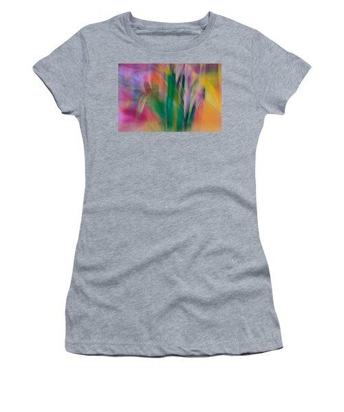 Women's T-Shirt (Junior Cut) featuring the photograph Modern Art Flower Garden by Susan Leggett