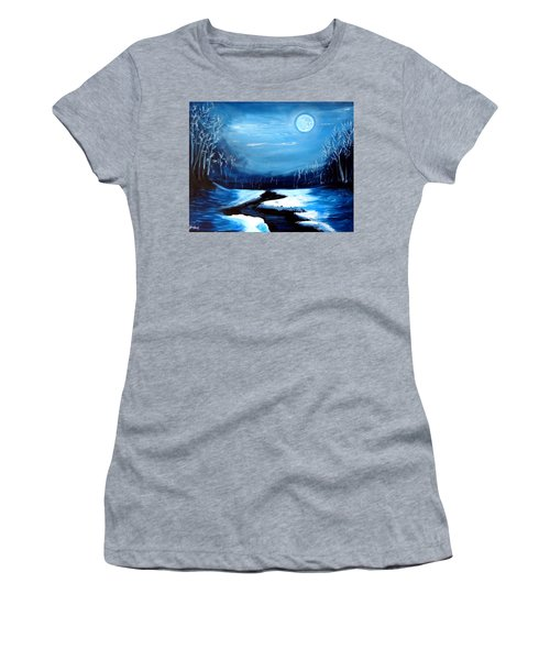 Moon Snow Trees River Winter Women's T-Shirt (Athletic Fit)