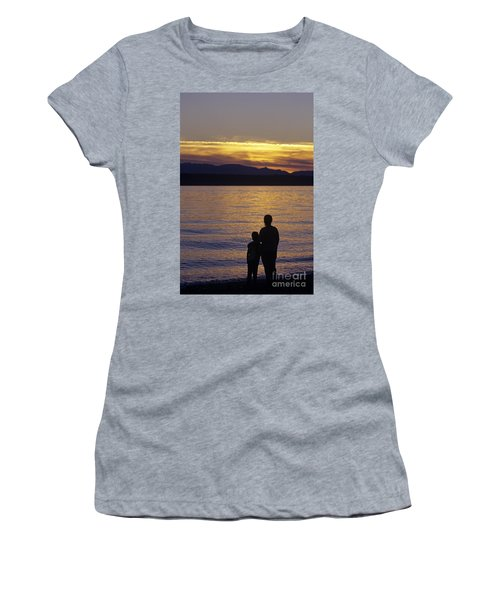 Mother And Daughter Holding Each Other Along Edmonds Beach At Su Women's T-Shirt (Athletic Fit)