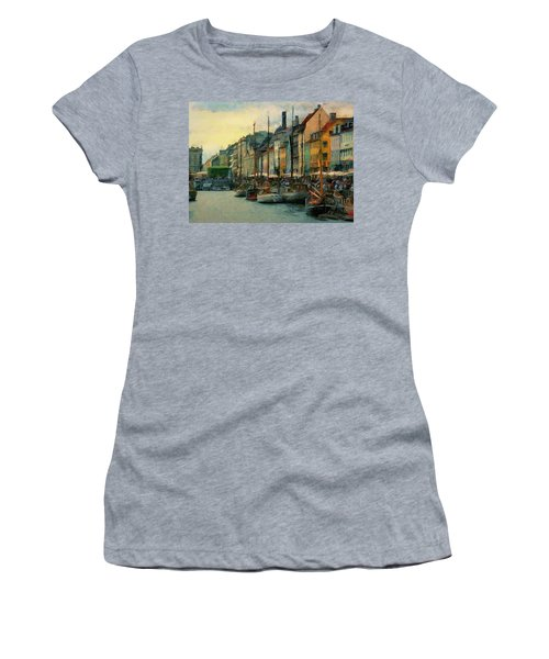 Women's T-Shirt (Junior Cut) featuring the painting Nayhavn Street by Jeff Kolker
