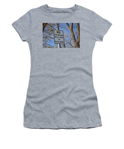 No Skating Women's T-Shirt (Athletic Fit)