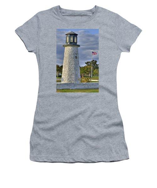 Old Buckroe Lighthouse Women's T-Shirt (Junior Cut) by Jerry Gammon