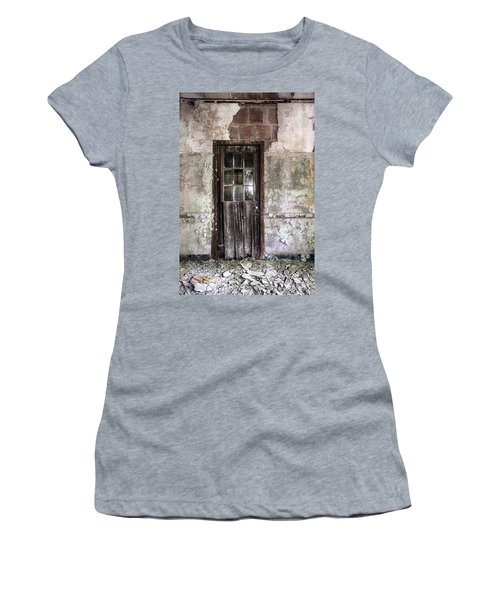 Women's T-Shirt featuring the photograph Old Door - Abandoned Building - Tea by Gary Heller