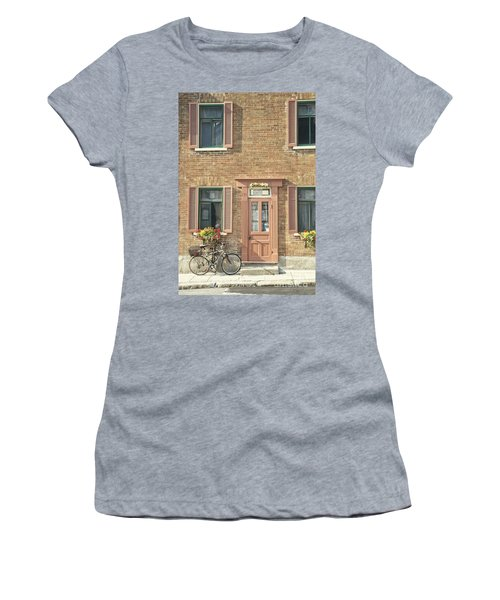 Old Downtown Building Doorway And Bike On Street Women's T-Shirt
