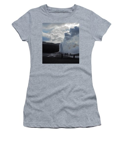 Women's T-Shirt (Junior Cut) featuring the photograph Old Faithful Morning by Michele Myers