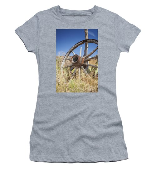 Women's T-Shirt featuring the photograph Old Wagon Wheel by Bryan Mullennix