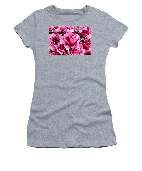 Paint Me Pink Ranunculus Flowers By Diana Sainz Women's T-Shirt