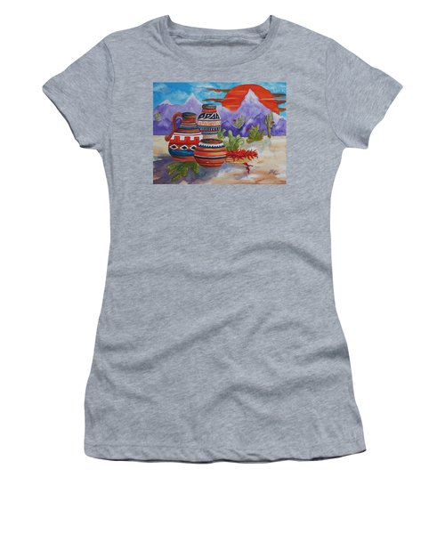 Painted Pots And Chili Peppers Women's T-Shirt (Athletic Fit)