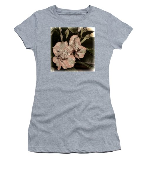 Pale Pink Lilies On Dark Background Women's T-Shirt