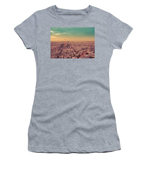 Paris - Eiffel Tower And Cityscape At Sunset Women's T-Shirt (Athletic Fit)