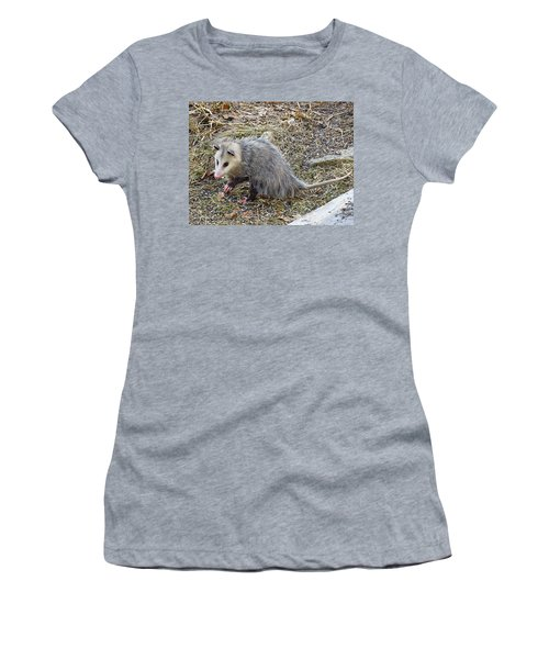 Pawing Possum Women's T-Shirt (Athletic Fit)