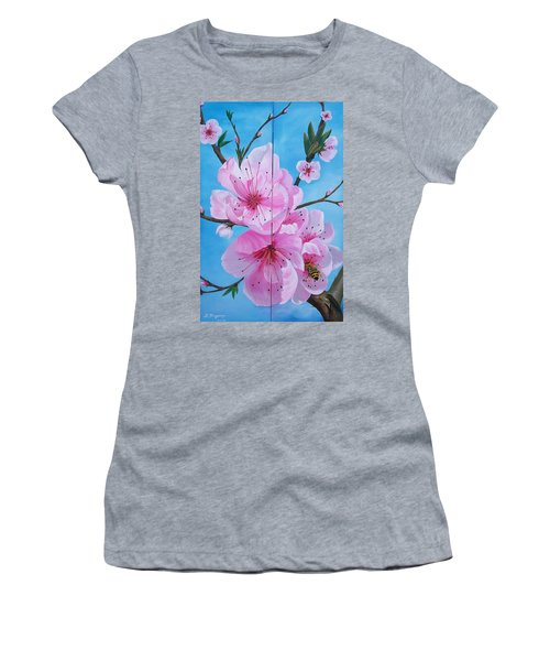 Peach Tree In Bloom Diptych Women's T-Shirt
