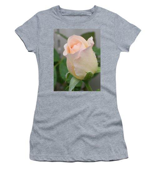 Women's T-Shirt (Junior Cut) featuring the photograph Fragile Peach Rose Bud by Belinda Lee