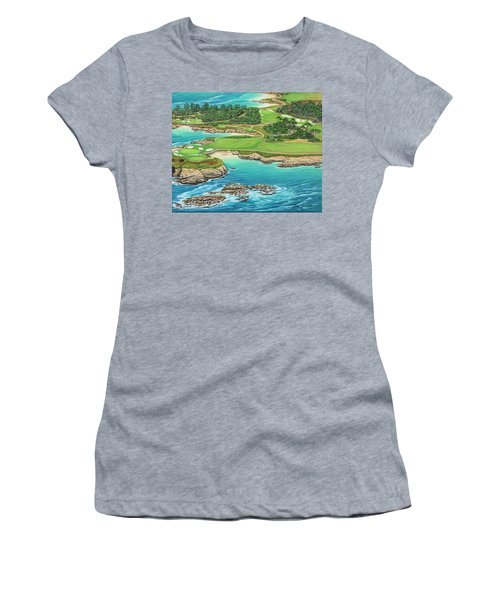 Pebble Beach 15th Hole-south Women's T-Shirt (Athletic Fit)