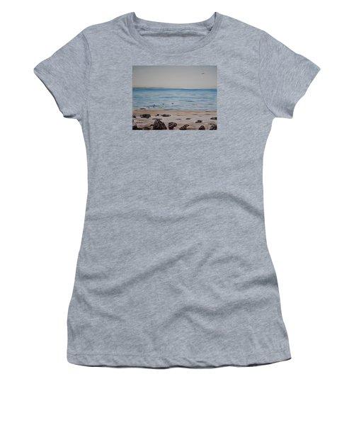 Pelicans At El Capitan Women's T-Shirt (Junior Cut) by Ian Donley