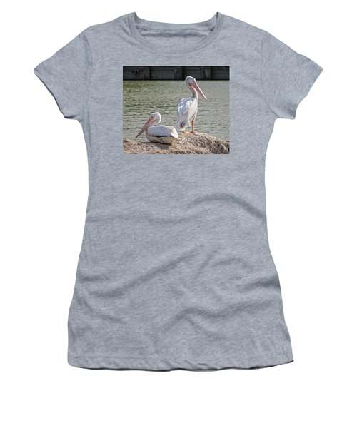 Women's T-Shirt (Junior Cut) featuring the photograph Pelicans By The Pair by Ella Kaye Dickey