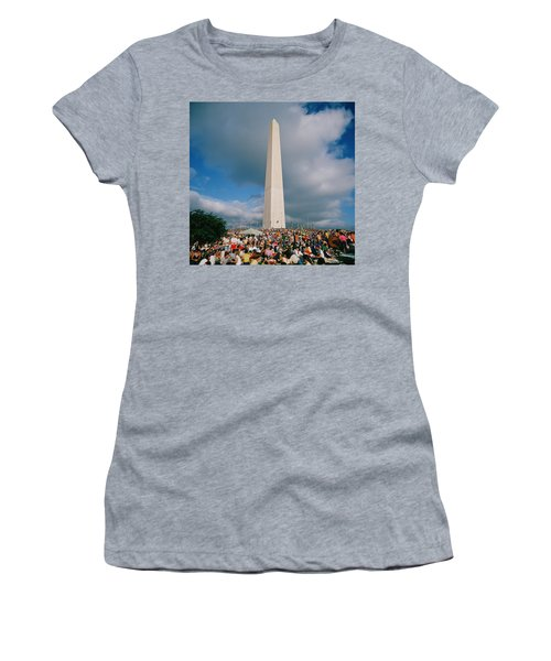 People At Washington Monument, The Women's T-Shirt (Junior Cut) by Panoramic Images