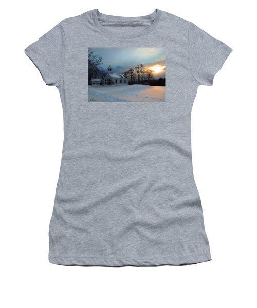 Piermont Church In Winter Light Women's T-Shirt (Junior Cut) by Nancy Griswold