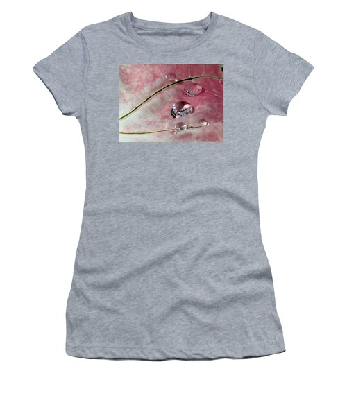 Pink Fancy Leaf Caladium - September Tears Women's T-Shirt (Athletic Fit)