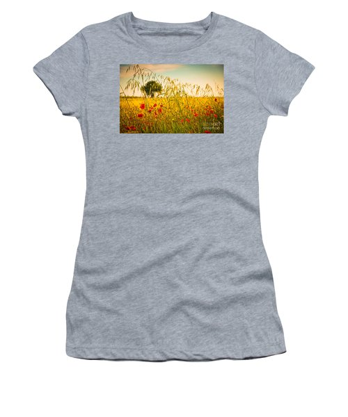 Poppies With Tree In The Distance Women's T-Shirt