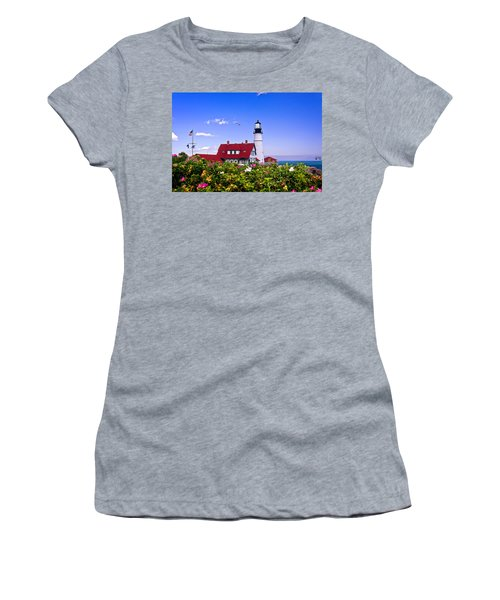 Portland Head Light And Roses Women's T-Shirt (Athletic Fit)