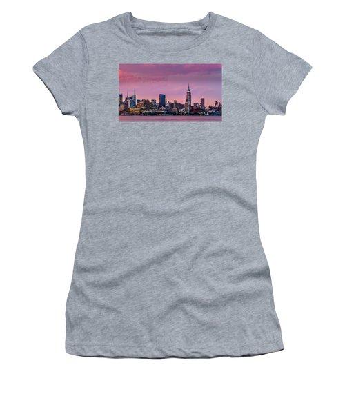 Women's T-Shirt (Junior Cut) featuring the photograph Purple City by Mihai Andritoiu