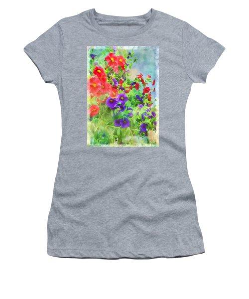 Red And Purple Calibrachoa - Digital Paint I Women's T-Shirt (Athletic Fit)