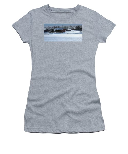 Red Barn In Snow Cover Women's T-Shirt (Athletic Fit)
