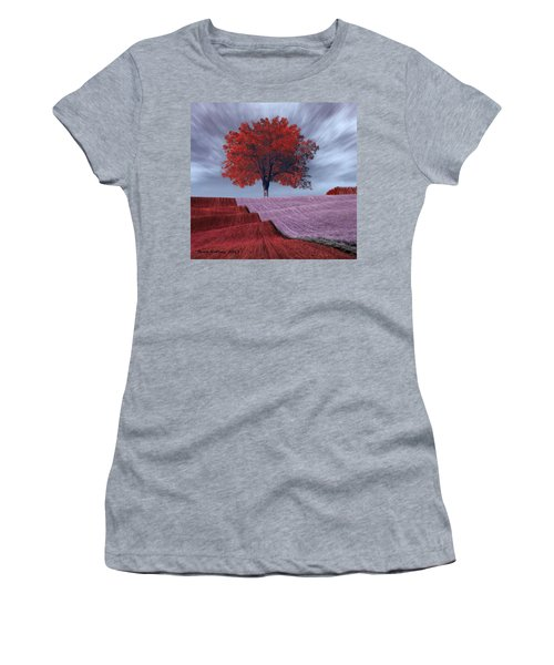 Women's T-Shirt (Junior Cut) featuring the painting Red Tree In A Field by Bruce Nutting
