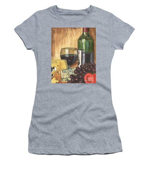Red Wine And Cheese Women's T-Shirt (Athletic Fit)