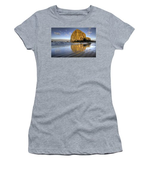 Reflection Of Haystack Rock At Cannon Beach 2 Women's T-Shirt (Athletic Fit)