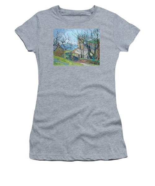 Reverend Hawkers Church At Morwenstow Oil On Canvas Women's T-Shirt