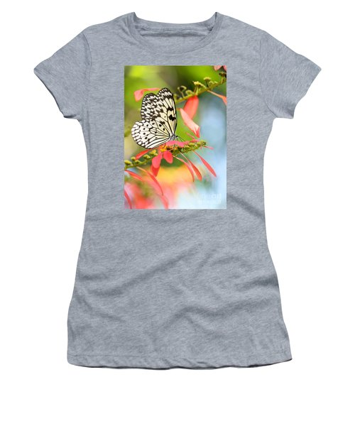 Rice Paper Butterfly In The Garden Women's T-Shirt (Athletic Fit)