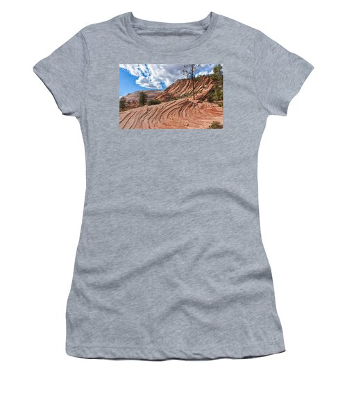 Women's T-Shirt (Junior Cut) featuring the photograph Rippled Rock At Zion National Park by John M Bailey