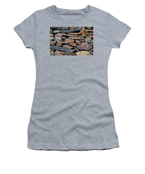 Women's T-Shirt (Junior Cut) featuring the photograph Rock Wall Of Slate by Bill Gabbert