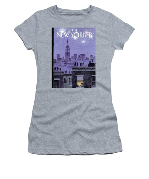 Rooftop Revelers Celebrate New Year's Eve Women's T-Shirt (Athletic Fit)