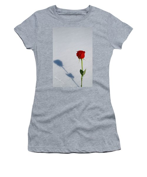 Rose In Snow Spring Approaches Women's T-Shirt