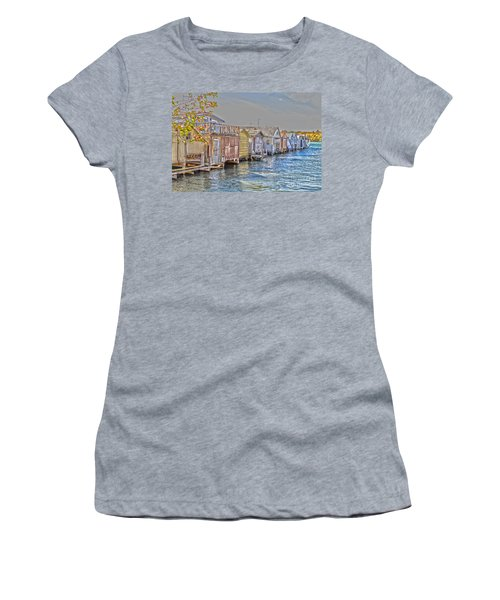Row Of Boathouses Women's T-Shirt (Junior Cut) by William Norton